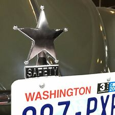 Safety Star Chromed License Plate Topper fits zwitter okrasa split oval ghia cox