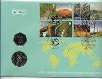 2005 WORLD HERITAGE AUSTRALIA WITH SCARCE 50cent  PNC - LIMITED TO 30,000.