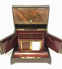 Superb Antique Victorian Rosewood Inlaid Stationery Cabinet Desk Organiser Box