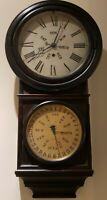 1878 Welch Spring & Co Round Top Regulator No. 4 Double Dial Calendar Wall Clock