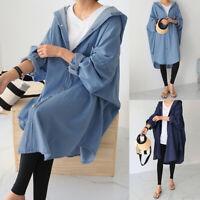 ZANZEA Womens Batwing Sleeve Baggy Blue Denim Hooded Outwear Cardigans Oversized