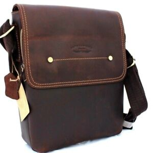 Leather Bag Messenger for iPad Air/Mini Satchel Student shoulder crossbody Brown