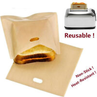 5x/lot Reusable Toast Toaster Bread Sandwich Baking Bag Pouch Pockets Non-stick