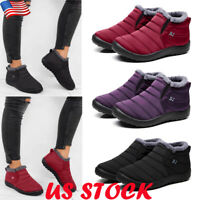 US Women Snow Boots Warm Fur Lined Ankle Booties Waterproof Slip On Winter Shoes