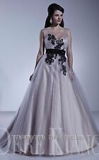 Dere Kiang 11158 Platinum/Black/Gold Size 12 Wedding Dress