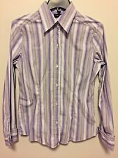 NEW YORK & Co. Women's Purple striped Stretch Button Long Sleeve Blouse Size M