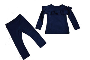 Girl's Frill Blue Tracksuit Suit Lounge 2 Piece set 2 to 14 years NEW