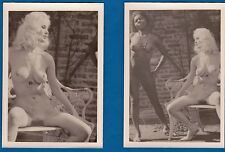 2 vintage photo black & white nude girls Akt risque topless nu foto ca 1965