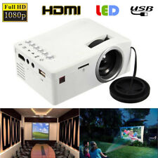 Mini 3000Lm Full HD 1080P LED Home Theater Projector USB TV VGA SD HDMI White