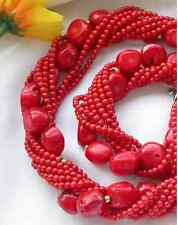 """8row 13x16mm NATUREL RED CORAL massive BEAD NECKLACE 20"""""""