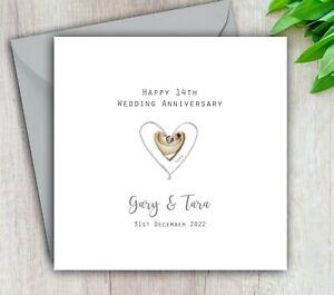 Personalised Handmade 14th Wedding Anniversary Card Ivory - Mum Dad Husband Wife