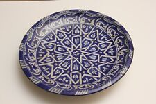 Antique Persian Islamic Glazed Ceramic Pottery Blue Cobalt Plate Charger