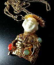 Vintage Signed ART Gold Tone Rhinestone Cabachon Chinese Buddha Pendant Necklace