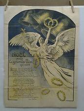 AFFICHE ORIGINALE ANCIENNE NOEL POUR LA GRANDE PAIX GUERRE 1914 / 1918 V PROUVE