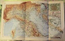1962 Carte Italie , partie nord Venise Gênes Milan Rome Vatican Pise art print