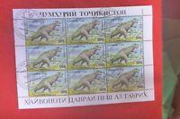 TAJIKISTAN PREHISTORIC ANIMALS  MINI SHEET OF 9   CTO TYRANOSAURUS