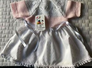 BNWT  PINK & WHITE ONE PIECE KNIT TOP SHORT SLV PINK DOTS BOTTOM DRESS -00M