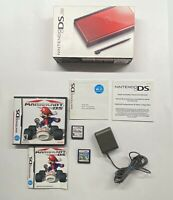 Nintendo DS Crimson Red with Box, Charger, Mario Kart DS & New Super Mario Bros!