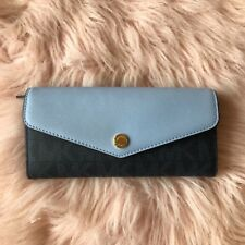 Michael Kors Greenwich Color Blue Light Sky  Carryall Wallet Clutch NWT