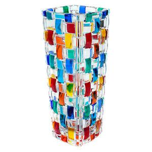 Murano Glass Vase Multi Coloured Hand Made Painted Millefiori 16cm High