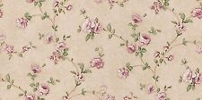 Dollhouse Miniature Brown and Pink Floral Computer Printed Fabric Cotton 1:2