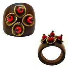 Bague anneau en bois coupelles doré vieilli et perles en pierre rouge TAILLE 60