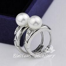 9K 9CT White GOLD GF  CRYSTAL Pearl Wedding Huggie Earrings ES415