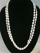 Vintage Off White Flat Oval Bead Double Strand Necklace