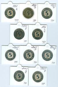 BRD  5 DM 1991 ADFGJ - 2001 ADFGJ  PP komplett inkl. 1995 (55 Münzen!)