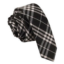 DQT Woven Tartan Plaid Black White Formal Casual Mens Skinny Tie