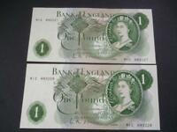 L.K.O'BRIEN 1960 PAIR OF REPLACEMENT ONE POUND NOTES UNCIRCULATED DUGGLEBY B285