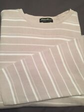 Eddie Bauer Pullover Sweater Size XXL Men's beige white stripe Crewneck Knit