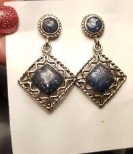 Vintage Silver Tone Blue Enamel Stone Dangle Square Diamond Shaped Earrings