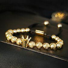 2020 Men Women Copper Beads Ball Crown Hand Braided Rope Charm Bracelets Jewelry