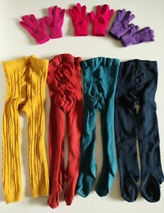 Bundle of colourful girls tights x 4 and gloves x 3 - Age 3-5 Mini Boden etc