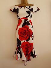 NEW ExDebenhams 8-18 Bardot Floral Rose Print Frill Bodycon Midi Dress Red White