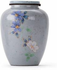 10.2cm Funeral Urn Hand-Painted Daisies Portable Cremation Urn Adult Gray Urn