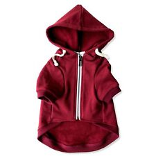 Maroon Adventure Zip Up Dog Hoodie With Velcro Pockets and Adjustable Drawstring