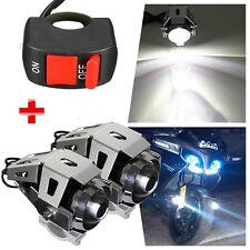 2x 125W U5 Motorcycle Bike LED Headlight Driving Fog Spot Light Lamp +1 Switch