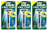 Gillette Vector Razor Handle + 1 Cartridge (Holds ALL Atra Blades) (3 Pack)