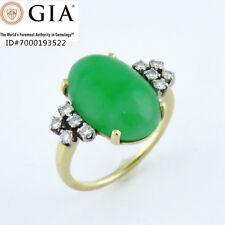 NYJEWEL GIA Certified 14k Gold Jadeite Jade 0.3ct Diamond Cocktail Ring