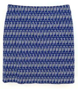 Ann Taylor Skirt Womens Size 8 Blue White Geometric Cotton Blend Pencil Zipper