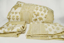 Pottery Barn King Comforter & 2 shams Reverse Floral Patchwork Stripe yellow tie