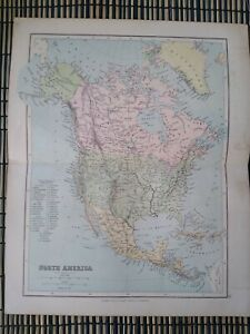 North America - Vintage Map Extracted from Phillips' Student's Atlas c-1890s