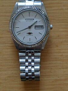 Citizen Eagle 7 Fluted Bezel White Dial Automatic Vintage