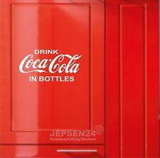 Drink Coca Cola in Bottles Aufkleber 32x16cm weiß glanz für Kühlschrank Tür