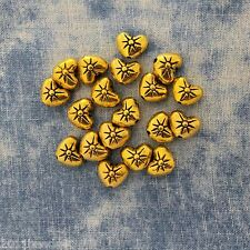 Antique Gold Alloy Metal Heart Beads 18 Pieces 7mm #0105