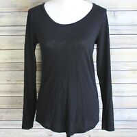 Ann Taylor Loft Vintage Soft Cotton Long Sleeve Shirt Black Scoop Neck Size XS