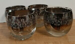 Vintage Set of 4 Tumbler/Roly Poly Glasses ~ Smoked Grey with Silver Trim