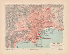 Antique map. ITALY. CITY MAP OF NAPLES & SURROUNDINGS OF NAPOLI. c 1895